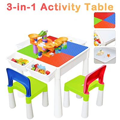 67i Kids Activity Table and 2 Chairs Set 3-in-1 Multi Activity Table Set Use As A Building Block Table Water Table Craft Table 120Pcs Large Building Blocks with 4 Storage Boxes (Red/Green/Blue/Orange): Kitchen & Dining
