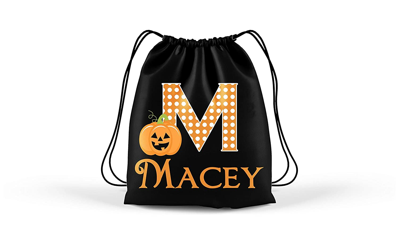 Personalized Halloween Pumpkin Monogram Trick Or Treat Bag Kids Halloween Tote Bag Goodie Bag Treat Bag Halloween Bag