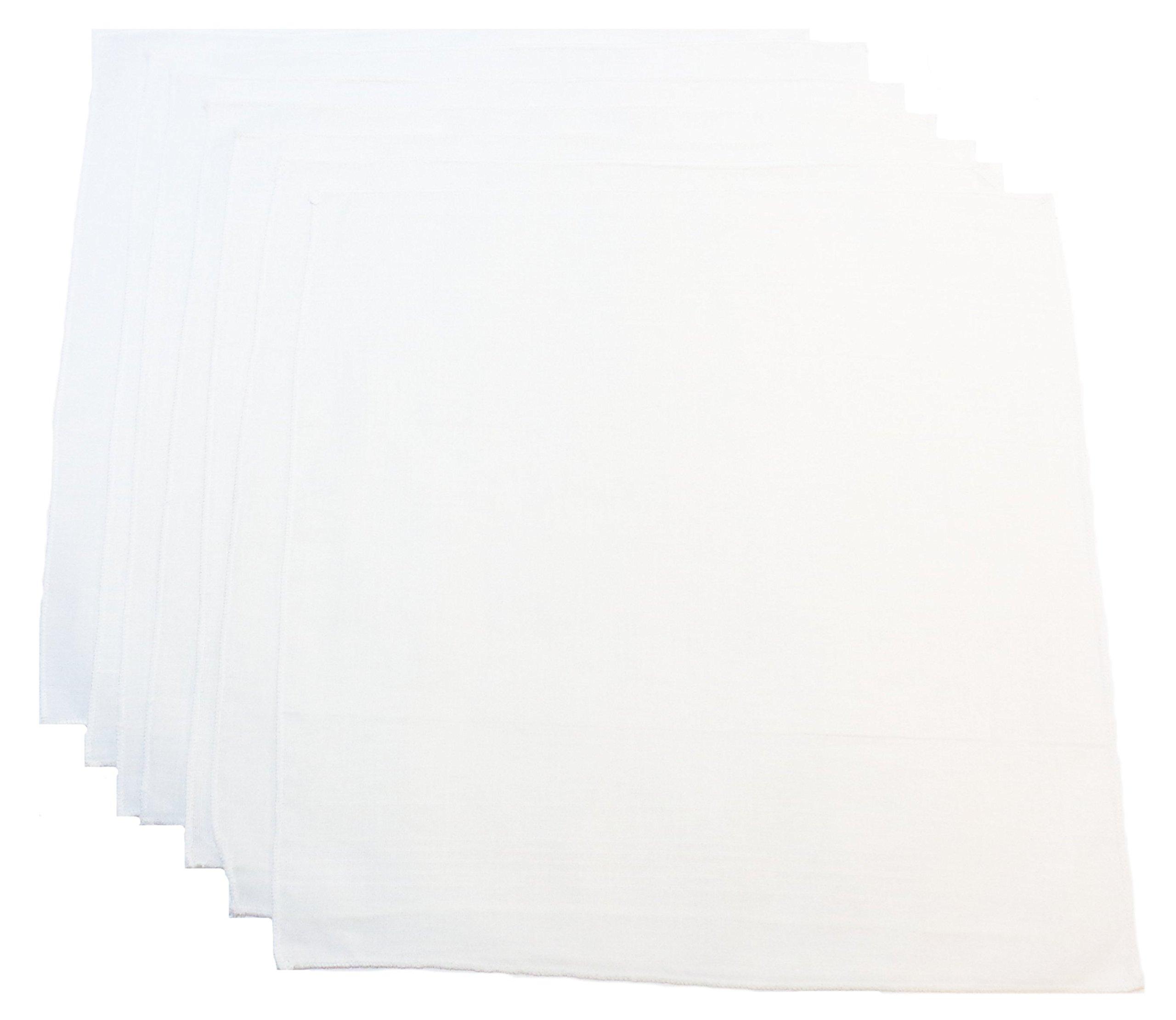 "Men's Handkerchiefs 100% Organic Cotton – Bandana Pack 7, Thin White 13""x13"" Set"