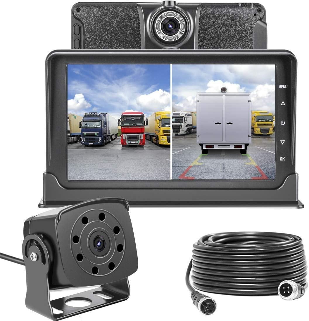 Upgrade Dash Cam Front and Rear,Homder 7 Monitor Front Lens with G-Sensor Loop Recording Motion Detection,IP69 Night Vision Rear View Camera Reversing Backup Camera for Trucks,Bus,Van,RV,Trailer