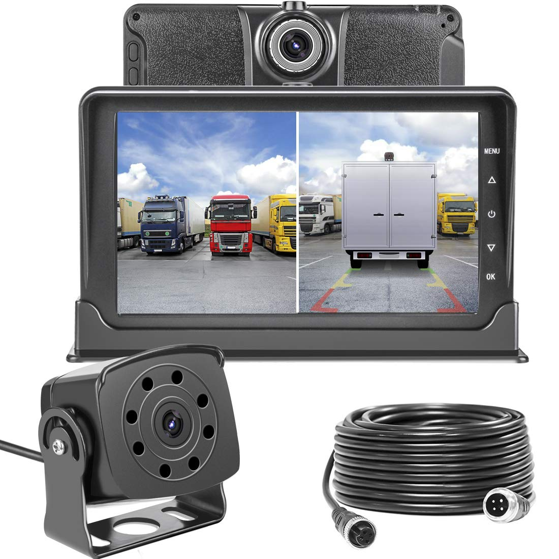 dash cam front and rear,homder 7'' monitor front lens with g-sensor/loop  recording/motion detection,ip69 night vision rear view camera reversing  backup