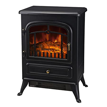 HOMCOM Freestanding Electric Fire Place Indoor Heater Glass View Log ...