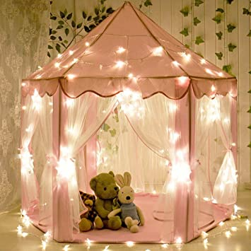 CuteKing Princess Castle Kids Play Tent Children Large Playhouse with LED Small Star Lights Pink & Amazon.com: CuteKing Princess Castle Kids Play Tent Children Large ...