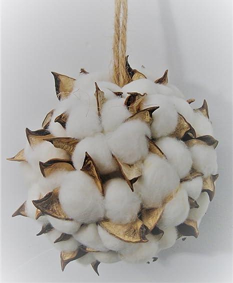 Nieve Blanco Bola de Algodón y Natural Pod adorno de Navidad ...