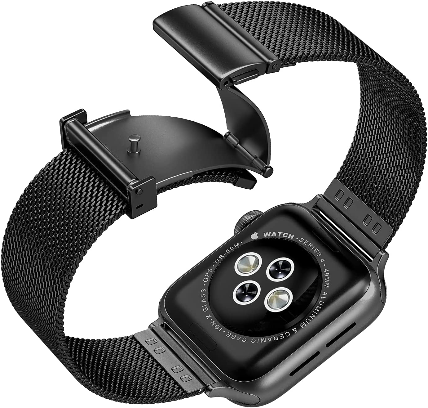 Compatible with Apple Watch Band 42mm 44mm,Upgraded Version Stainless Steel Bands Business Replacement iWatch Strap for Apple Watch Series 6/5/4/3/2/1/SE Sport Edition Women Men, Black
