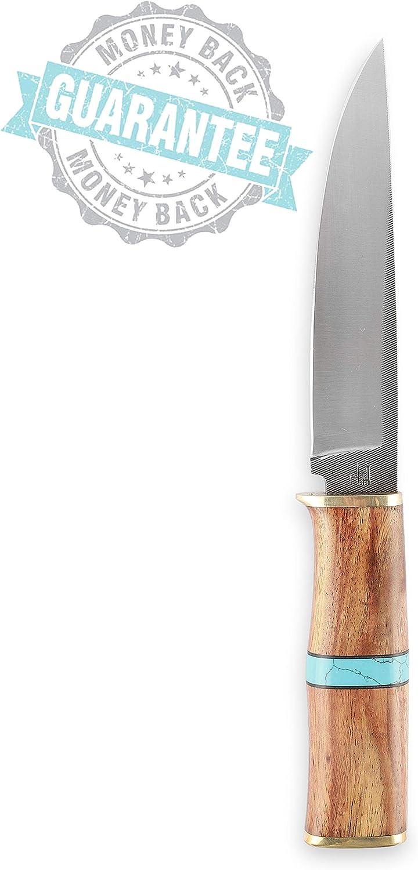 Cuchillo de Caza de Acero 1095 Hecho a Mano Mango de Madera y Turquesa Dise/ñado para la Caza y el Camping. Hobby Hut HH-311 Funda de Cuero Hoja Fija de 13 Pulgadas Personalizado