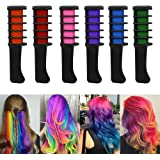 Hair Chalk Comb,Etmury Temporary Hair Chalk Colour Set,6 Pcs Mini Instant Hair Chalk Comb with Disposable Gloves and Shawl for Kids Hair Dyeing,Party, Christmas and Cosplay DIY