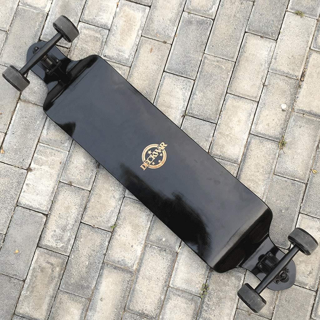 HXGL-スケートボード プロスケートボードラペリングブラシストリートトラベル大人子供スケートボードロングボードダウンヒルボードシンキングボードロード 黒