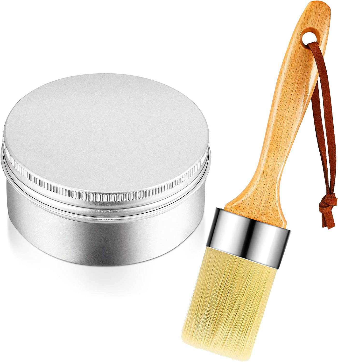 Clear Finishing Wax Furniture Finishing Wax 7 oz Chalk Paint Sealing Wax with Chalk and Wax Paint Brush for Painting or Waxing Interior Furniture, Cabinets, Walls, Home Decor Accessories
