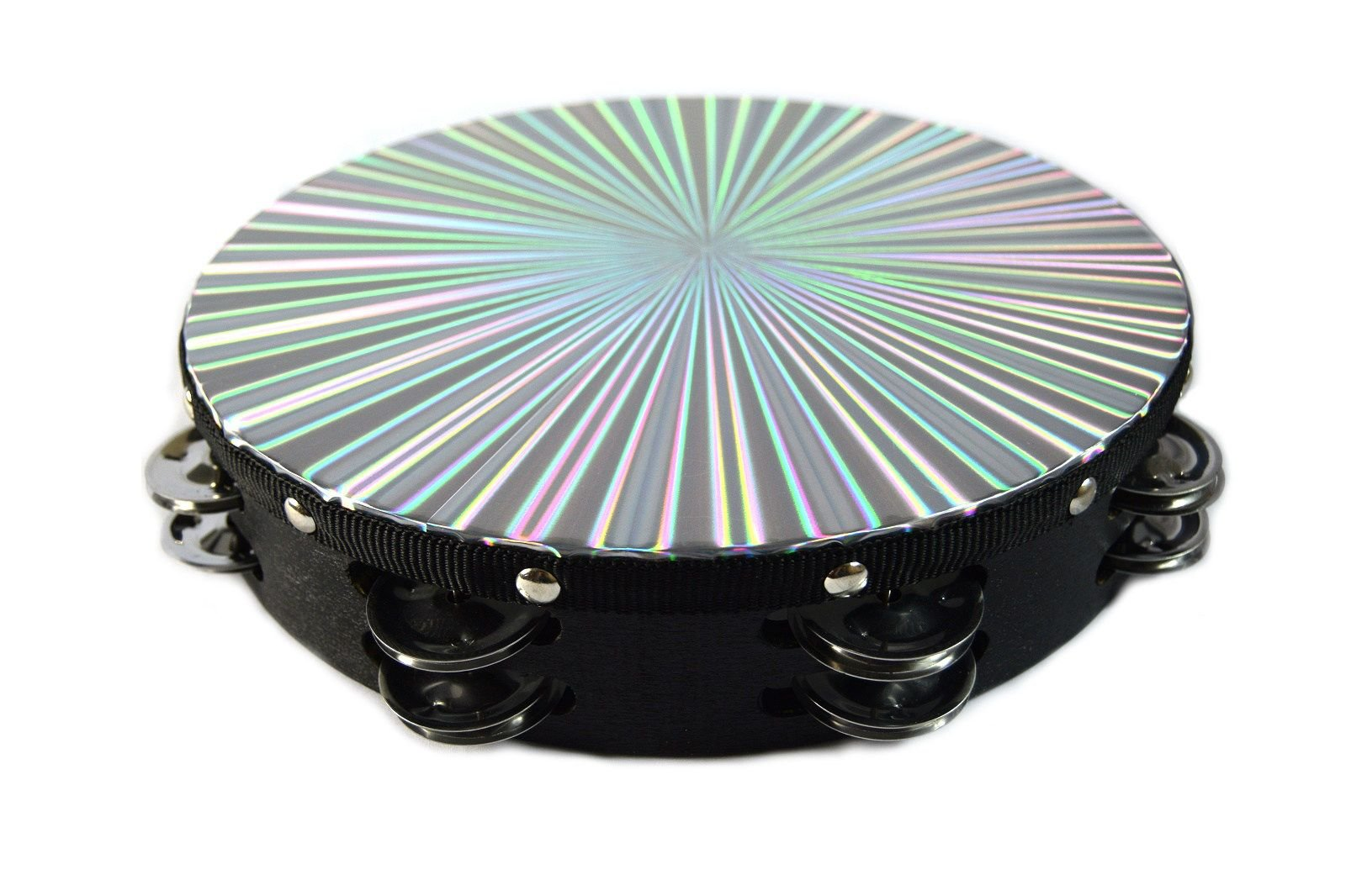 Musical Tambourine 8'' Reflective Percussion Double Row Jingles Wood Hand Held