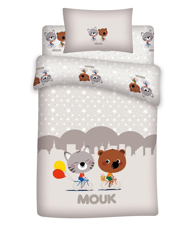 Mouk–Juego de cama para bebé (3piezas 100% algodón–Funda de edredón (100x 140cm) + sábana bajera + funda de almohada Aymax