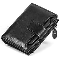 Portafoglio uomo PU Portafoglio bloccante RFID in Porta carte di credito Portafoglio bifold con tasca portamonete con zip per uomo(H-J10