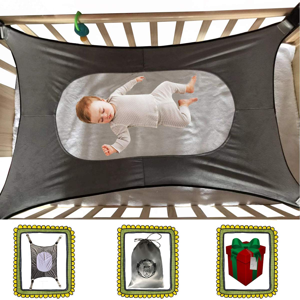 Baby Hammock for Crib,Mimics Womb,Newborn Bassinet,Strong Material,Upgraded Safety Measures,Infant Nursey Travel Bed, Reduce Environmental Risks Associated with Early Infancy Absolute Safe Shower Gift