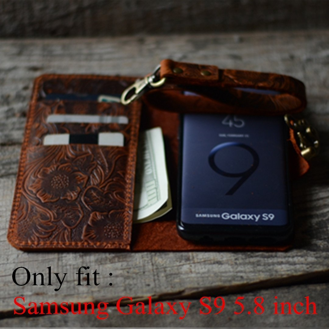 Handmade Book Leather Wallet Case for Samsung Galaxy s9 5.8 inch retro style brown