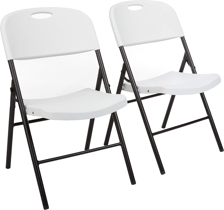 AmazonBasics - Silla de plástico plegable, capacidad de 157,5kg, blanco, set de 2