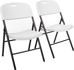 AmazonBasics Folding Plastic Chair, 350-Pound Capacity, White, Set of 2