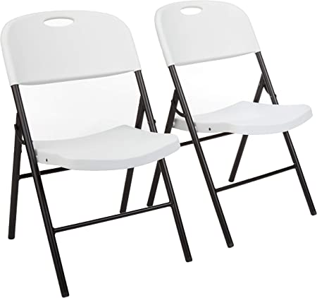 Set de 2 sillas plegables, de plástico moldeado y metal, para proporcionar asientos adicionales en f