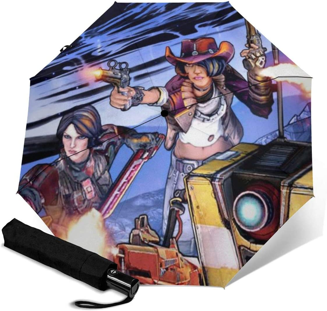 Borderlands Pre Sequel Playable Characters 3D Pattern PG Cloth Lightweight Foldable Tri-fold Umbrealla For Rain Sunshade Anti-UV,Qucik-dry Wind Resistance Automatic Umbrellas