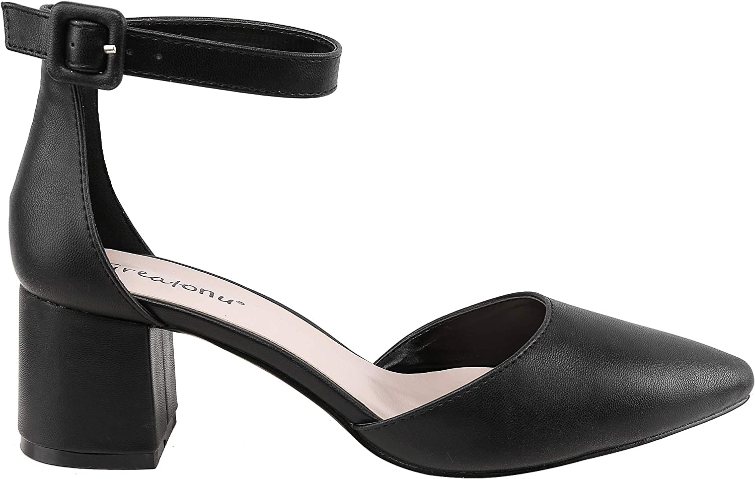 Greatonu Women's Court Shoes with Ankle Strap, Block Heel