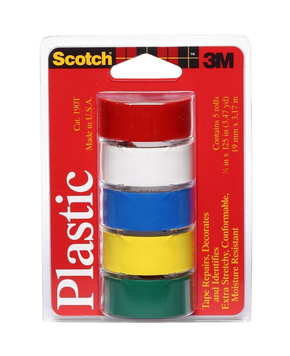 Scotch Super Thin Waterproof Vinyl Plastic Colored Tape Each 5-Pack , .75-Inch by 125-Inch,(Pack of 2)