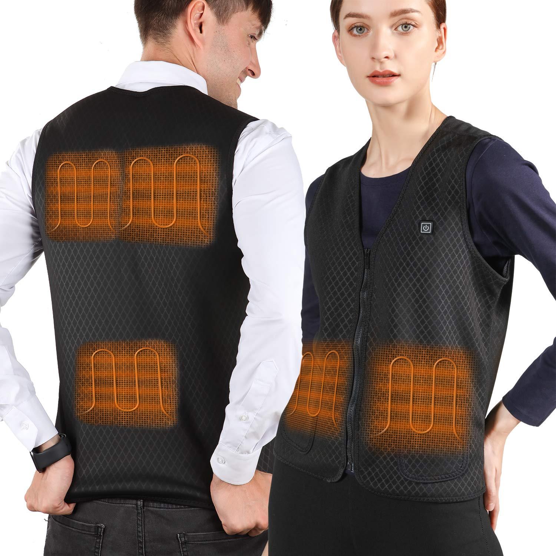 VALLEYWIND Men Heated Vest, USB Charging Electric Heated Jacket Washable Black by VALLEYWIND
