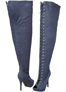 Amazon.com | 3 3/4 Wide Shaft Wide Width Thigh High Boots Women\'s ...