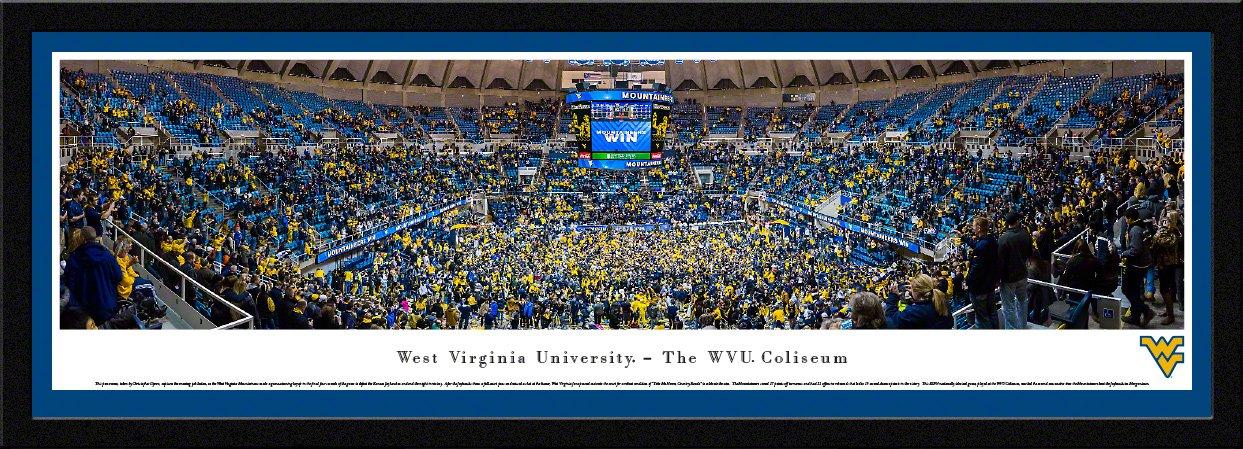 West Virginiaバスケットボール – Blakewayパノラマ大学スポーツポスター  チームカラーのシングルマット付きセレクトフレーム B016X3RKSW