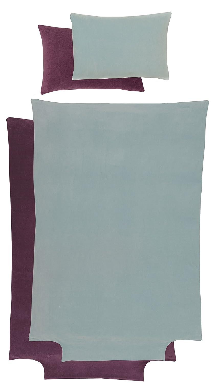 Parure Housse de couette 100x140 cm + taie 40x60 cm - 100% velours de coton Bio - Bicolore prune/Beige P' tit Basile