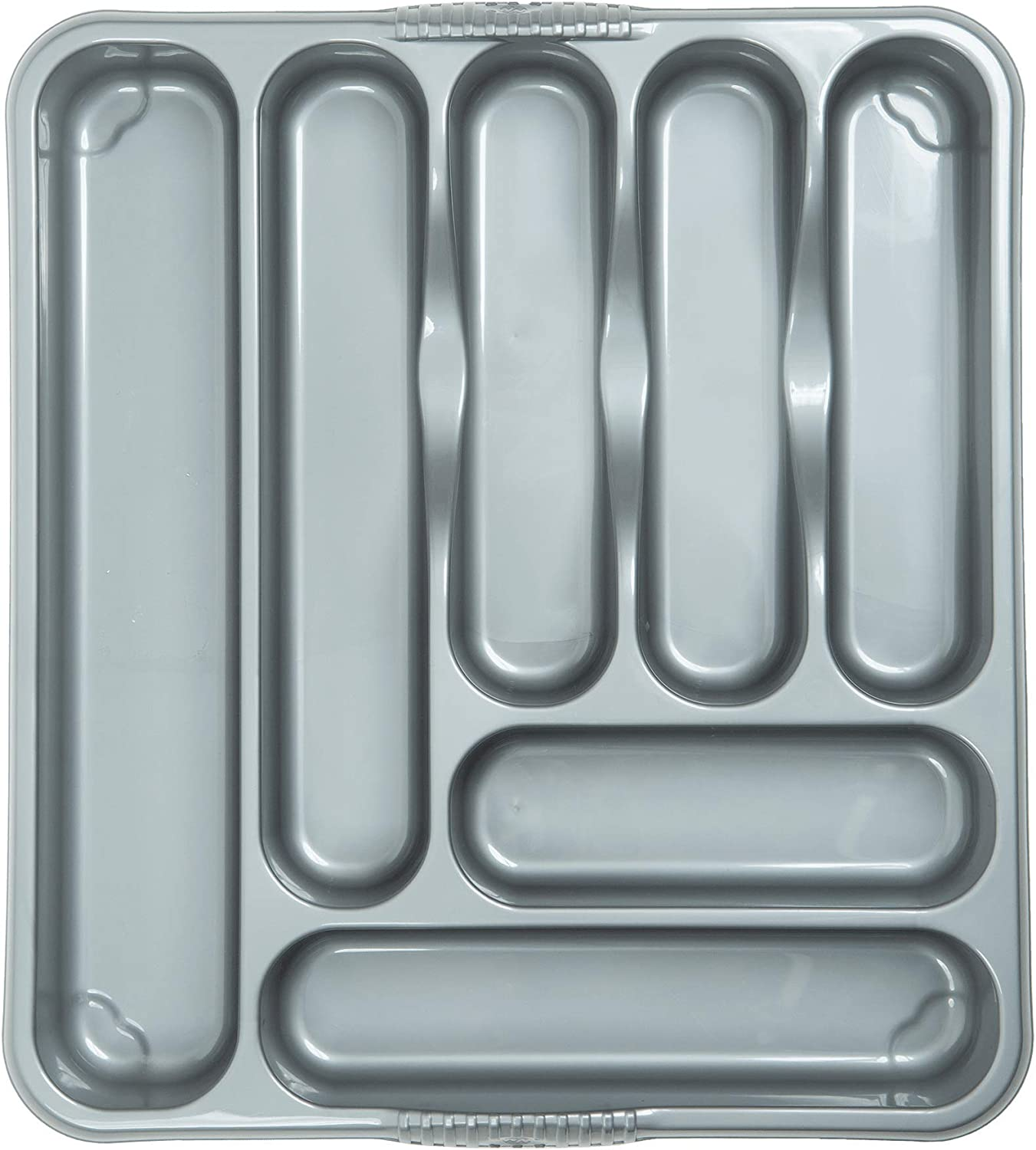JMS/® Casa Large Cutlery Tray Silver Compartment Plastic Cutlery Draw Storage Stand Holder Caddy Organiser for Kitchen Drawers