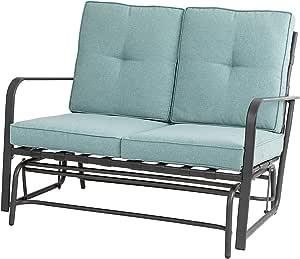 Glitzhome Patio Loveseat Metal Frame Outdoor Bistro Glider Chair Furniture Set for Lawn Porch Garden Yard Poolside, Blue