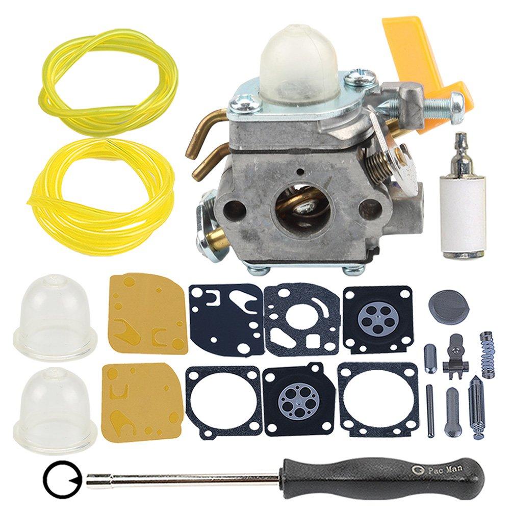 Hilom Carburetor with carb kit Fuel Filter Line for Homelite Ryobi Poulan Craftsman 30cc 26cc 25cc Trimmer Blower ZAMA C1U-H60 Carb Replace 308054013 308054012 308054004 308054008