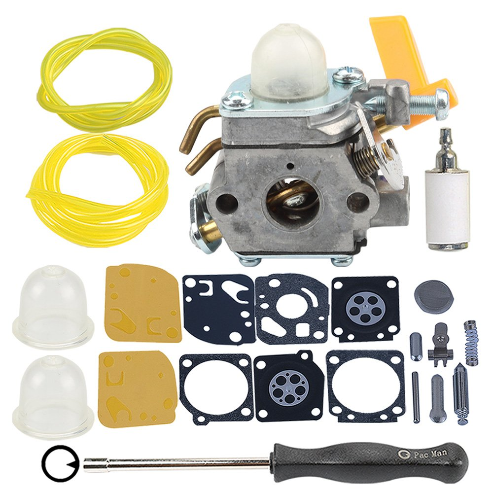 Hilom Carburetor with carb kit Fuel Filter Line for Homelite Ryobi Poulan Craftsman 30cc 26cc 25cc Trimmer Blower ZAMA C1U-H60 Carb Replace 308054013 308054012 308054004 308054008 by Hilom