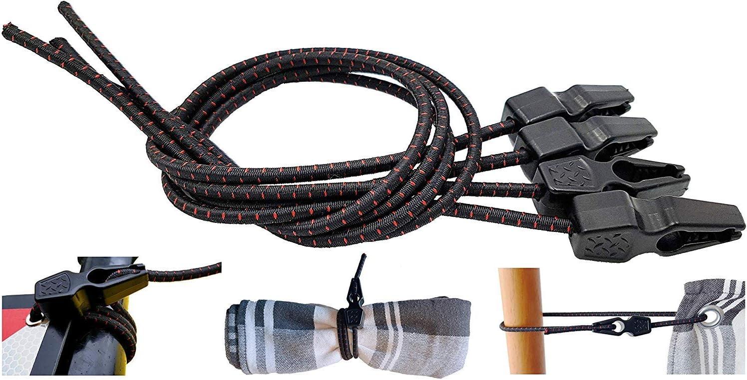 MAGMA Tensores Elasticos, Cuerdas Elastica Sujetar Lonas, Toldos, Señal V20, Portabicicletas Longitud Ajustable. (Pack 4 Units, 50cm)