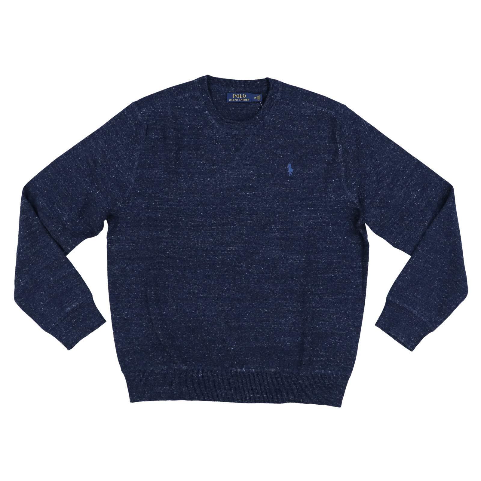 Polo Ralph Lauren Mens Crew Neck Pullover Sweater (Large, Navy Heather)