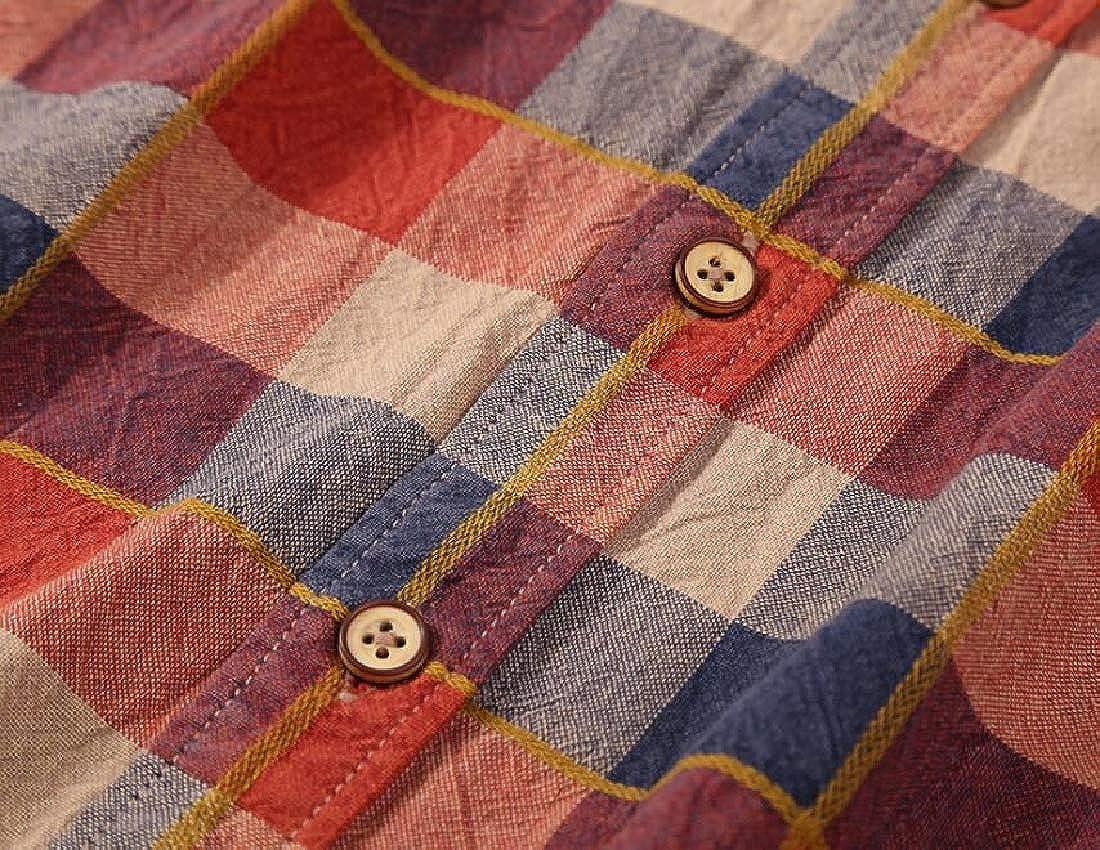 Alion Men Cotton Casual Plaid Checkered Long Sleeve Button Down Shirts