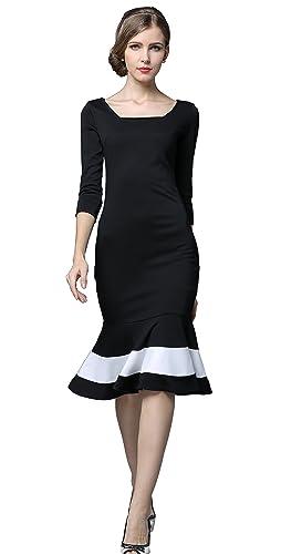 Yacun Women's Mermaid 3/4 Sleeve Bodycon Cocktail Dress