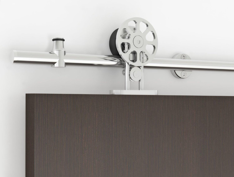 6FT Top Mount Spoke Wheel Barn Door Track Sliding Barn Door Hardware,Stainless Steel,Brushed (6FT Single Door Kit)