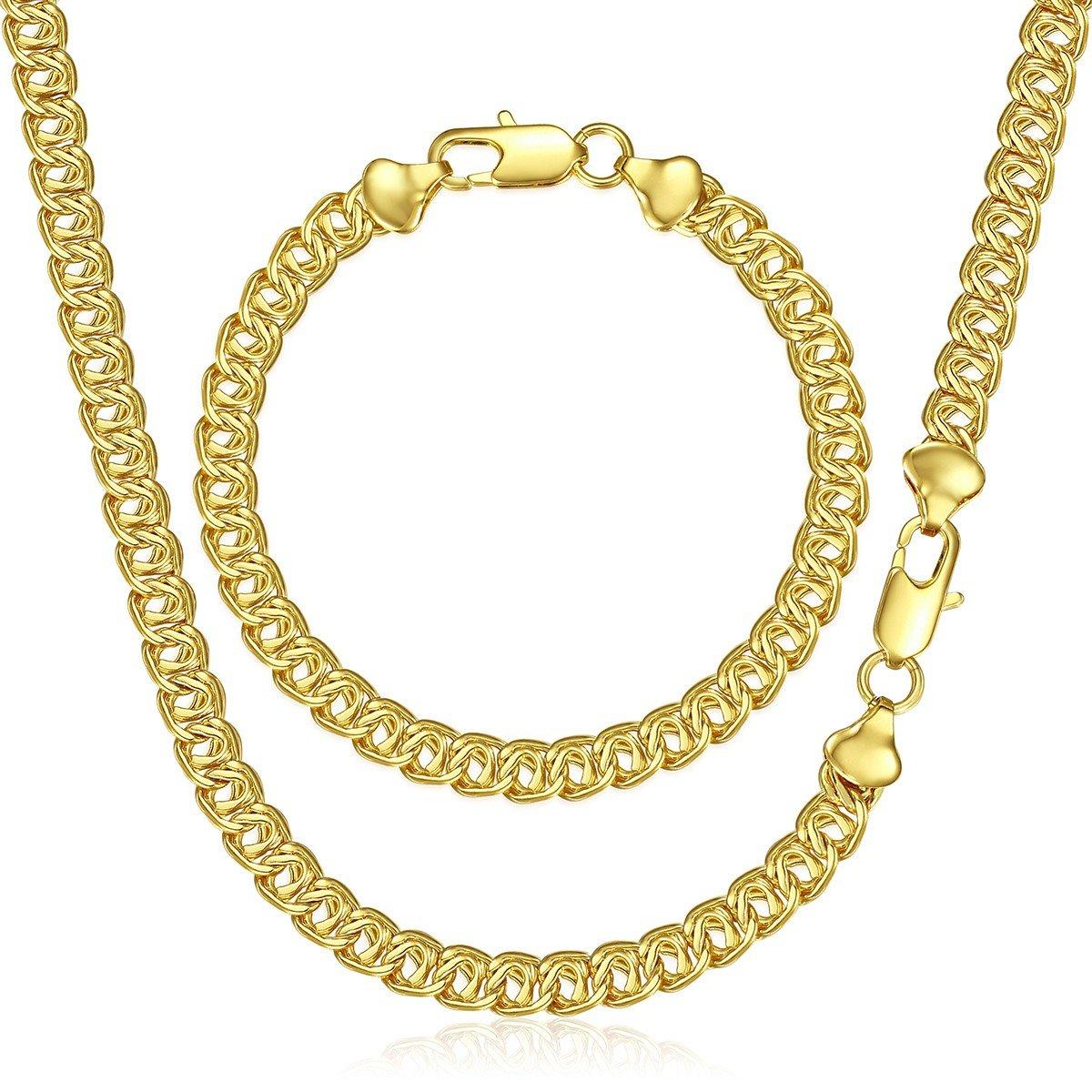 Trendsmax Insieme dei monili del braccialetto della collana delle donne degli uomini Oro riempito Catena GF Link di lumache 7mm GS269_718B