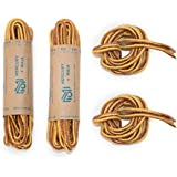 Mercury + Maia Sturdy Round Work Boot Laces, Heavy Duty and Durable Hiking Laces with Fused Tips - Nylon Boots Shoelaces - Made in USA- 2 Pair Pack