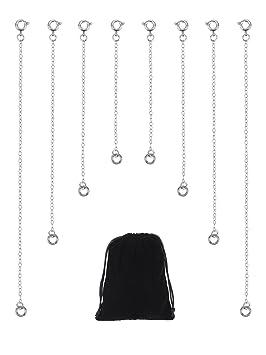 8 Piezas Extensor de Collar de Acero Inoxidable Extensión de Cadena de Pulsera para Bisutería, 4 Tamaños, Color Plateado
