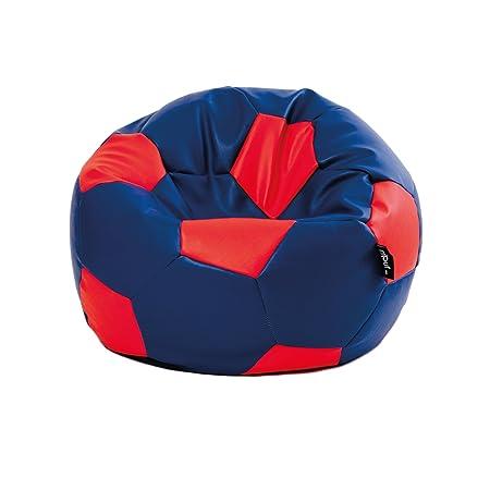 MiPuf - Puff Futbol Original - 90cm diámetro - Tejido Polipiel Alta Resistencia - Doble Cremallera - Relleno Incluido - Azul Marino y Rojo - 4 años de ...