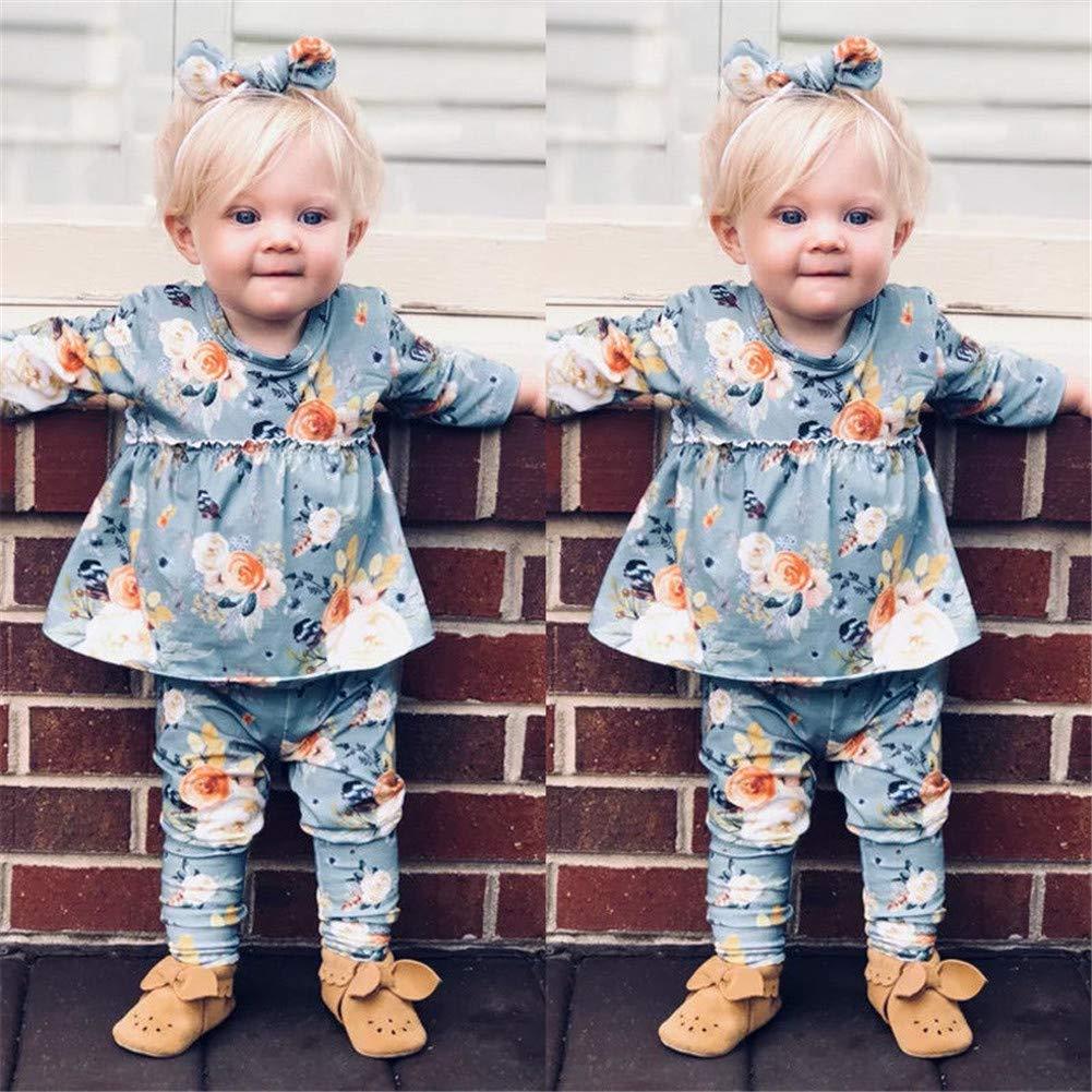 2Pcs//Set Newborn Kid Baby Girls Flower Tops Dress Pants Leggings Clothes Outfits Sets 3M-4Y