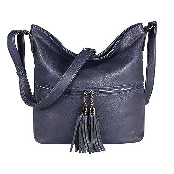 bb29e16138735 OBC Damen Tasche Shopper Schultertasche Umhängetasche City Crossover  Crossbody Henkeltasche Bag Beuteltasche Kunst-Leder (
