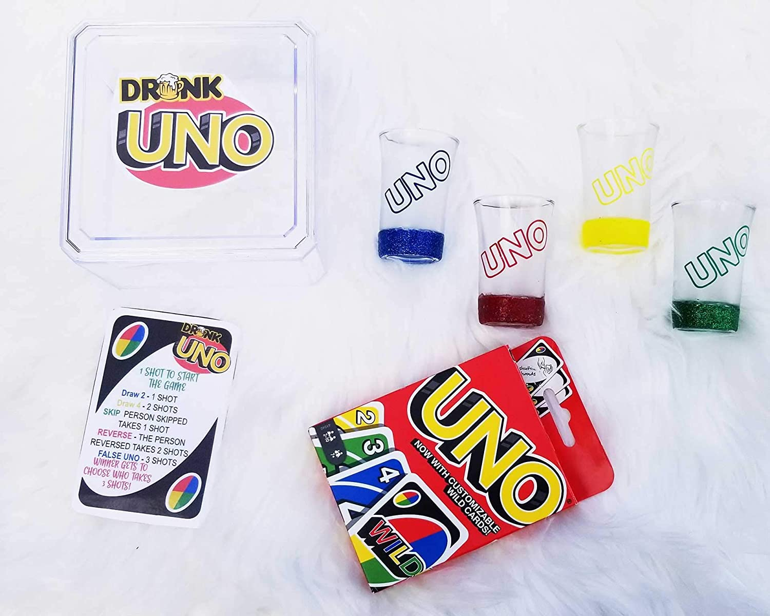Drunk Uno Game with 4 Shot Glasses Uno Deck FREE SHIPPING