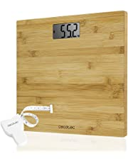 Cecotec Surface Precision 9300 Healthy Báscula de baño digital, Con plataforma de bambú (eco-friendly), Pantalla LCD, Capacidad máxima 180kg, Lista para usar y con cinta métrica