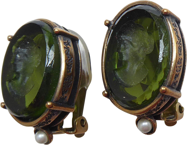 Glam and Gloria EXTASIA - Pendientes de clip con piedras verdes y oliva (pequeños, bronce, estilo vintage), color verde oliva