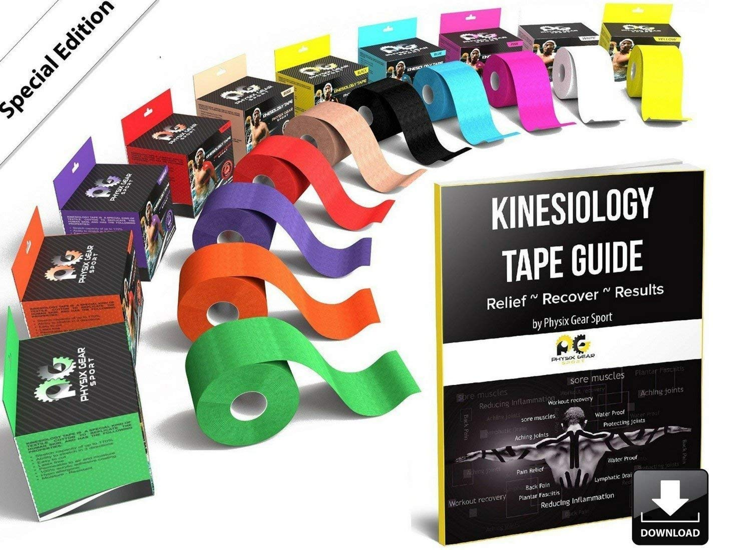 Physix Gear Sport Kinesiology Tape - Free Illustrated E-Guide - 16ft Uncut Roll - Best Pain Relief Adhesive for Muscles, Shin Splints Knee & Shoulder - 24/7 Waterproof Therapeutic Aid (1PK WHT)