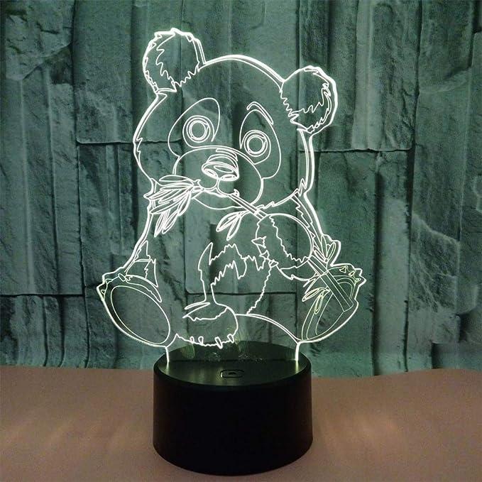 Panda Gigante 3D Lámpara Óptico Illusions Luz Nocturna LED Lámpara ...