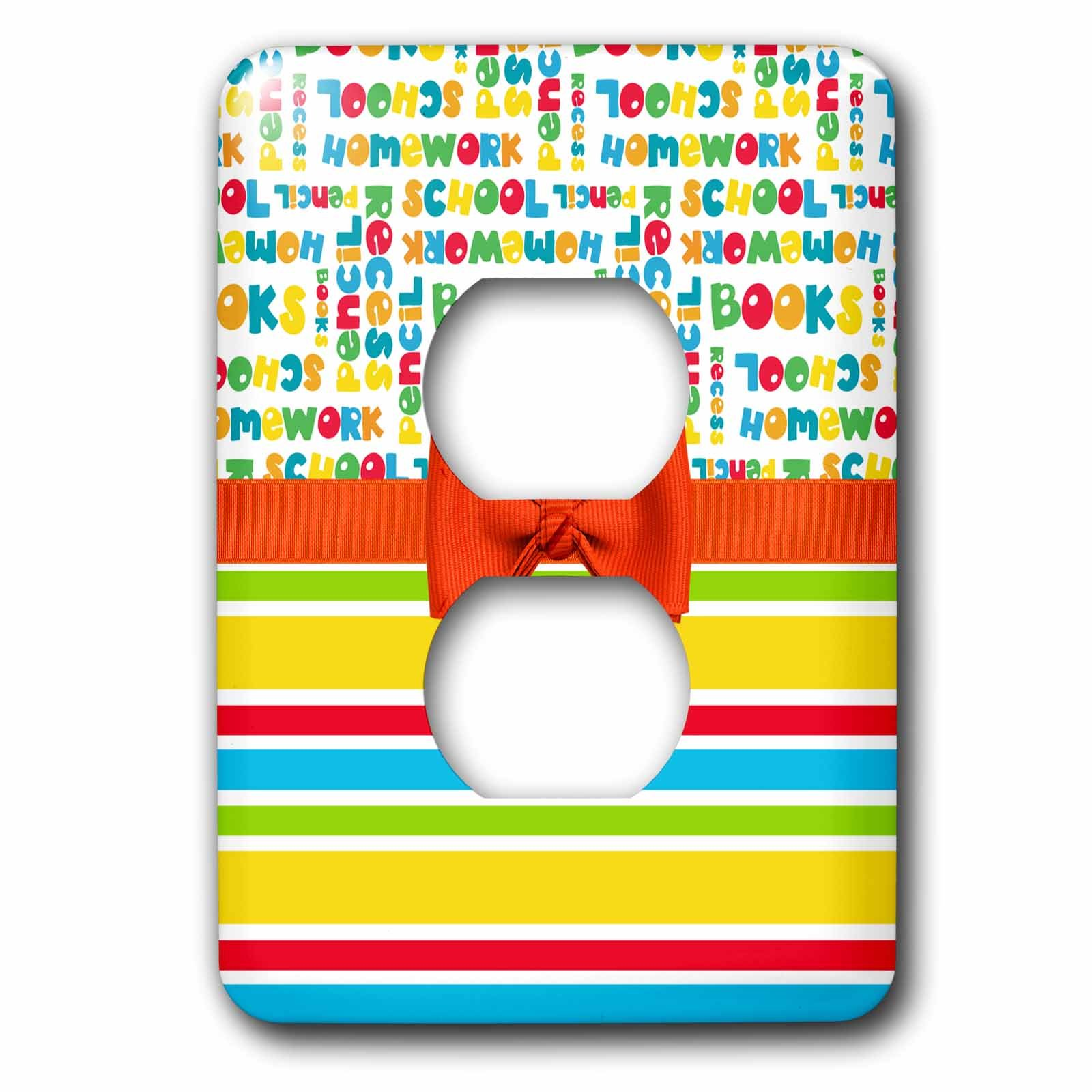 3dRose Anne Marie Baugh - Designs - Cute Primary Colors School Words Over Stripes With Digital Bow - Light Switch Covers - 2 plug outlet cover (lsp_282891_6)