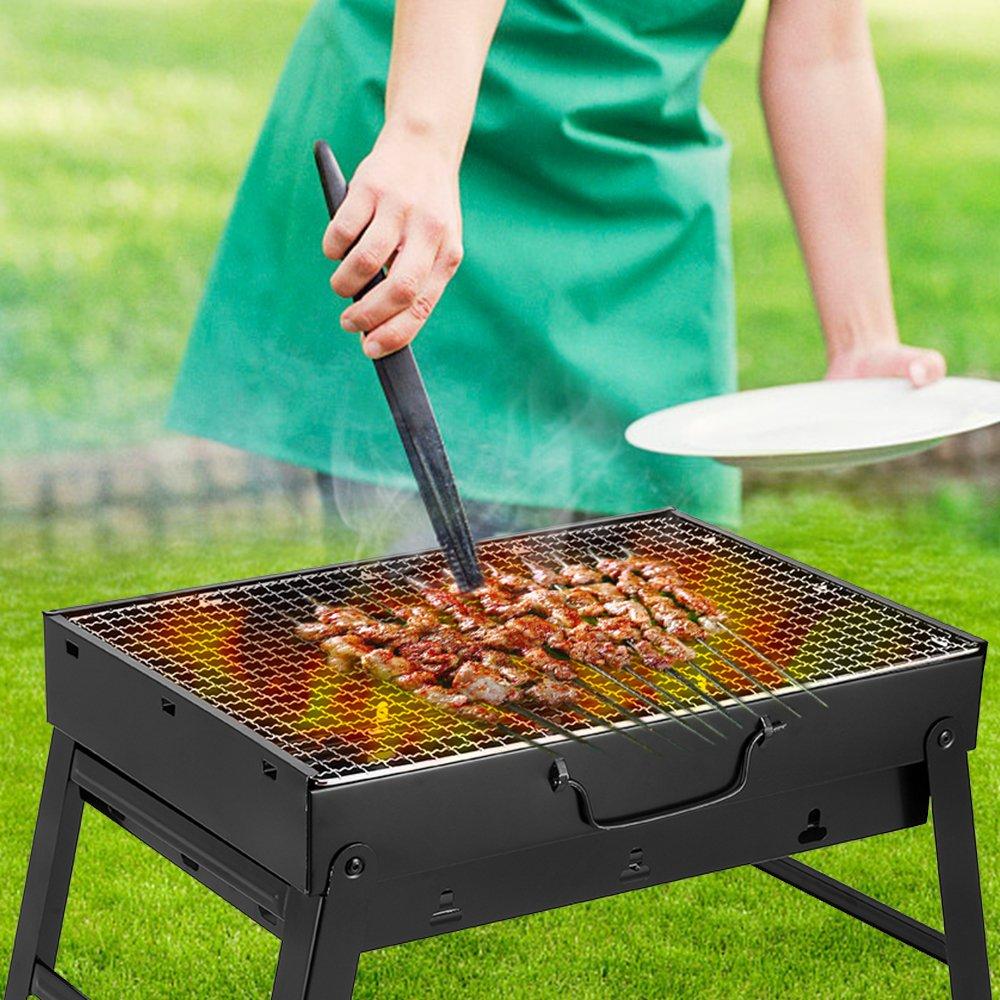 Uten Barbacoa de Carbón Portátil con Parrillas y Pies Plegables para BBQ, Picnic, Acampadas, Camping